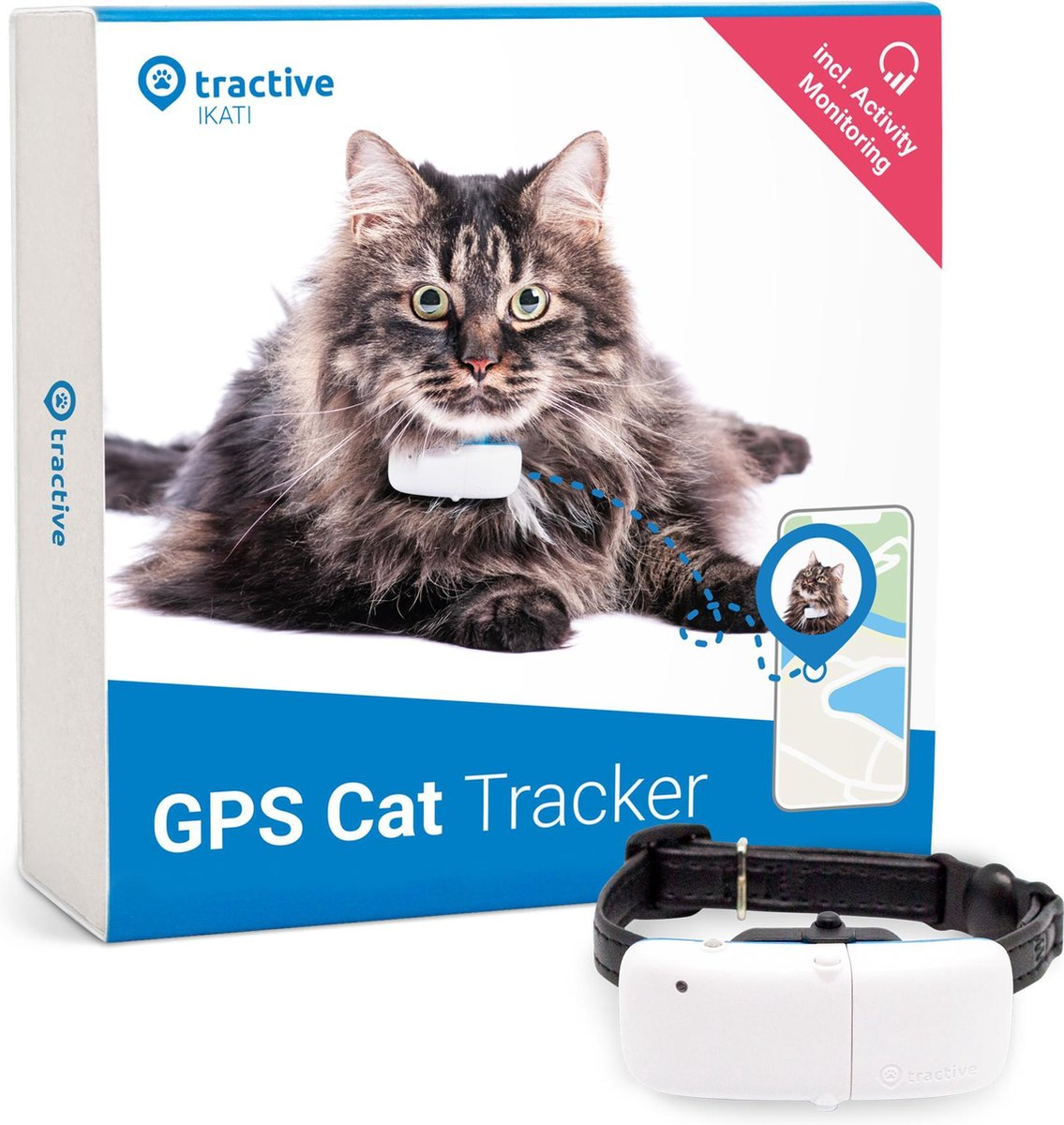 Tractive IKATI GPS tracker kat Editie 2020. Kat gps-tracker voor elke kattenhalsband  - met activite
