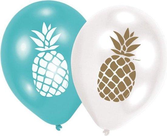 12x Ananas print ballonnen 27 cm - Tropische Hawaii thema feestartikelen/versieringen