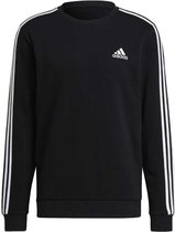 Adidas Essentials 3-Stripes Fleece Sweater Zwart Heren
