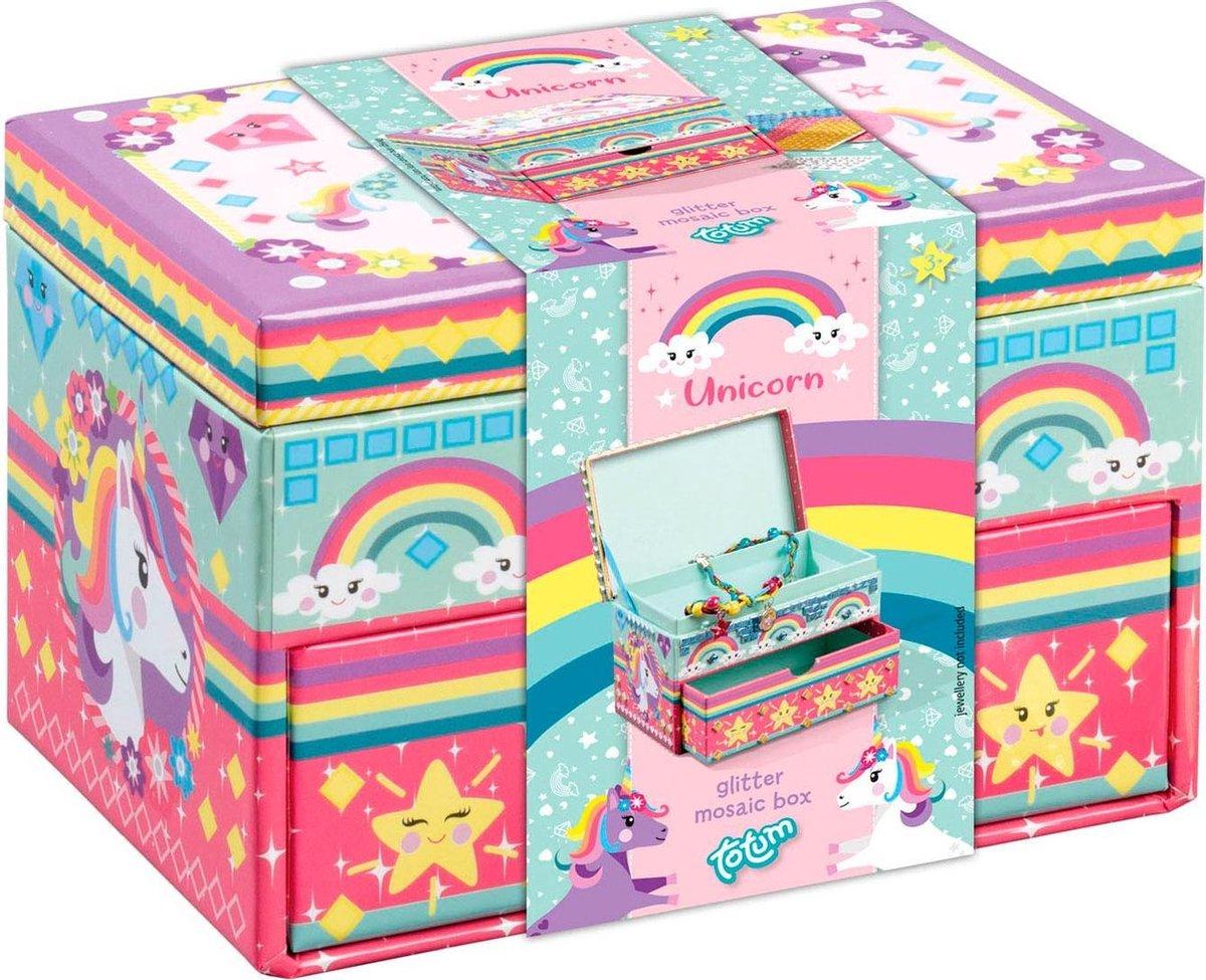 Unicorn sieradendoosje  - eenhoorn glitter beauty doosje versieren - 15 x 10 x 10 cm - Totum knutsel