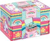 Unicorn sieradendoosje  - eenhoorn glitter beauty doosje versieren - 15 x 10 x 10 cm - Totum knutselset meisjescadeau