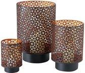Set van 3x stuks windlichten zwart/koper van metaal tussen de 13 en 27 cm