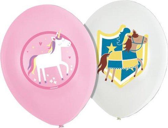 Amscan Ballonnen Princess & Knight 27,5 Cm Latex Roze/wit 6 St