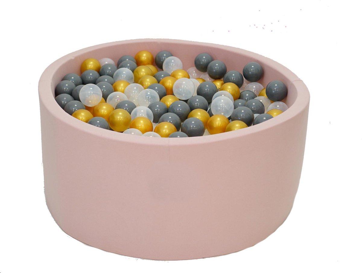 Ballenbak Roze 90x40 met 250 ballen Grijs Zwart, Transparant, Goud