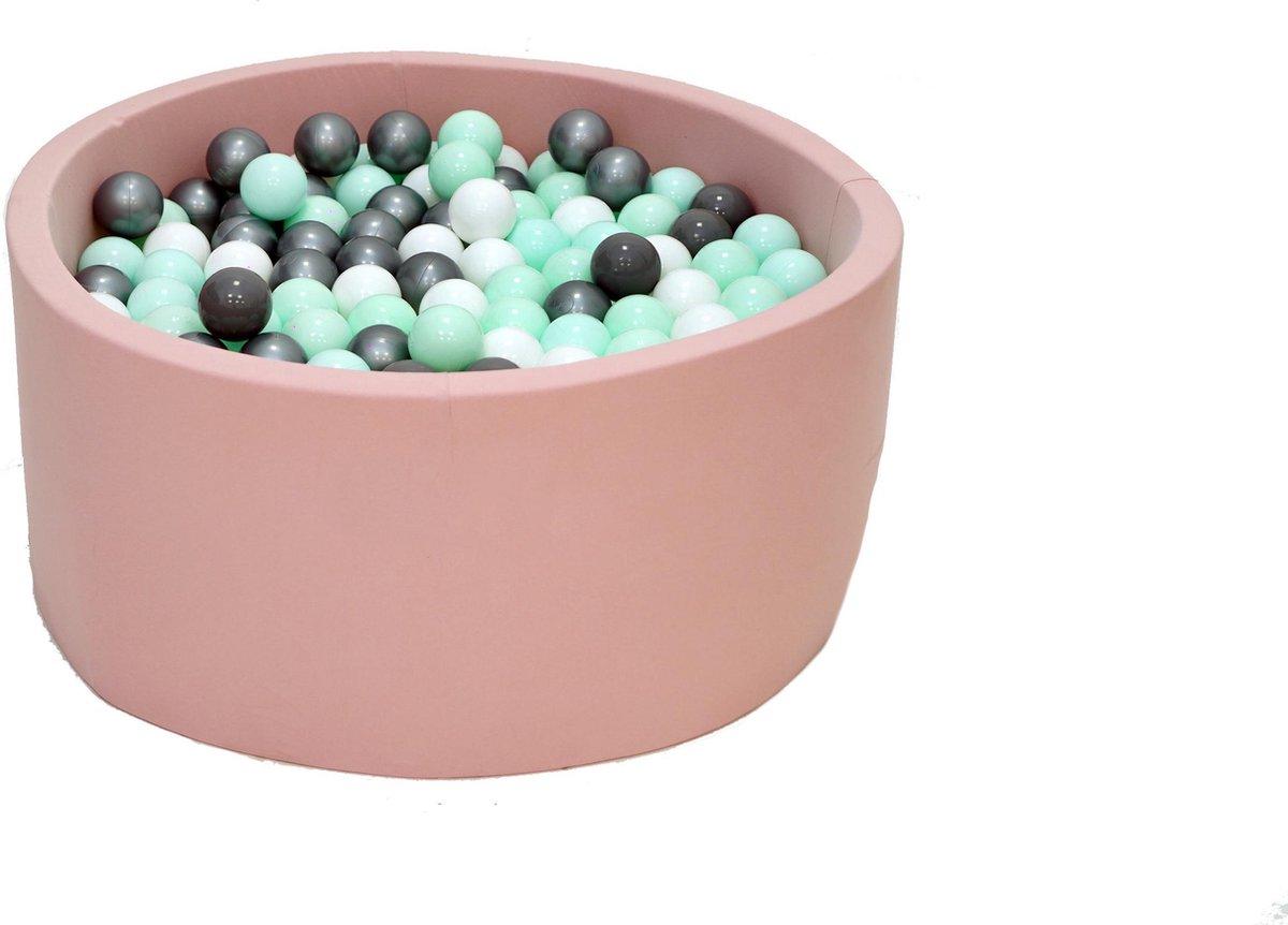 Ballenbak Roze 90x40 met 250 ballen Zilver, Munt, Wit