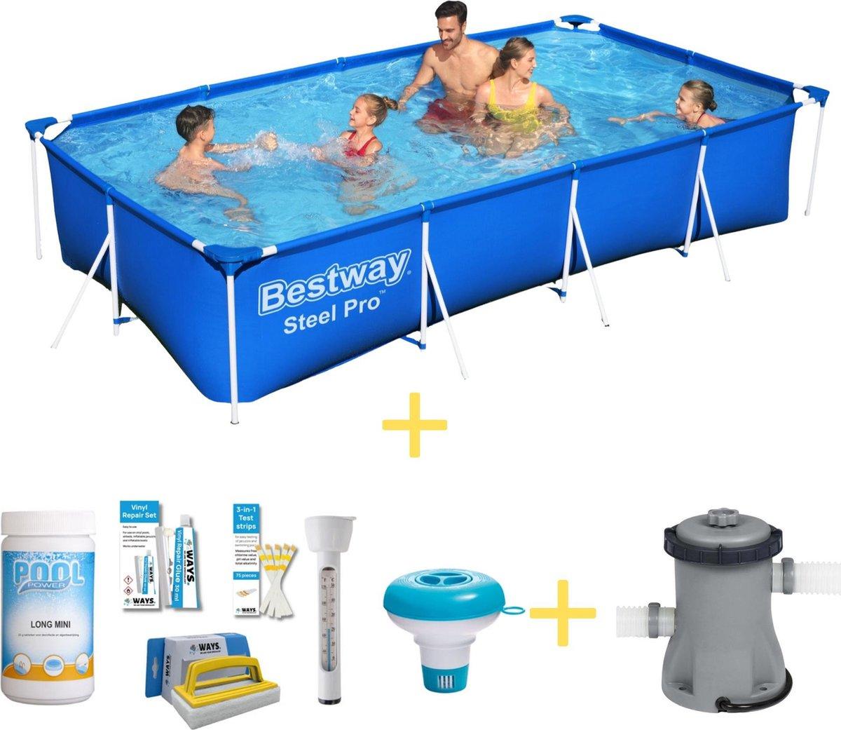 Bestway Zwembad - Steel Pro - 400 x 211 x 81 cm - Inclusief WAYS Onderhoudspakket & Filterpomp