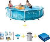 Intex Zwembad - Metal Frame - Strandzijde - 305 x 76 - Inclusief WAYS Onderhoudspakket, Filterpomp & Grondzeil