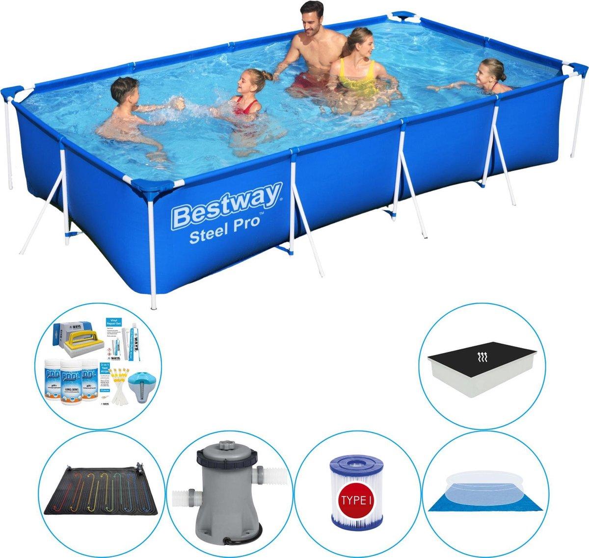 Zwembad Combinatie Set - Bestway Steel Pro Rechthoekig 400x211x81 cm