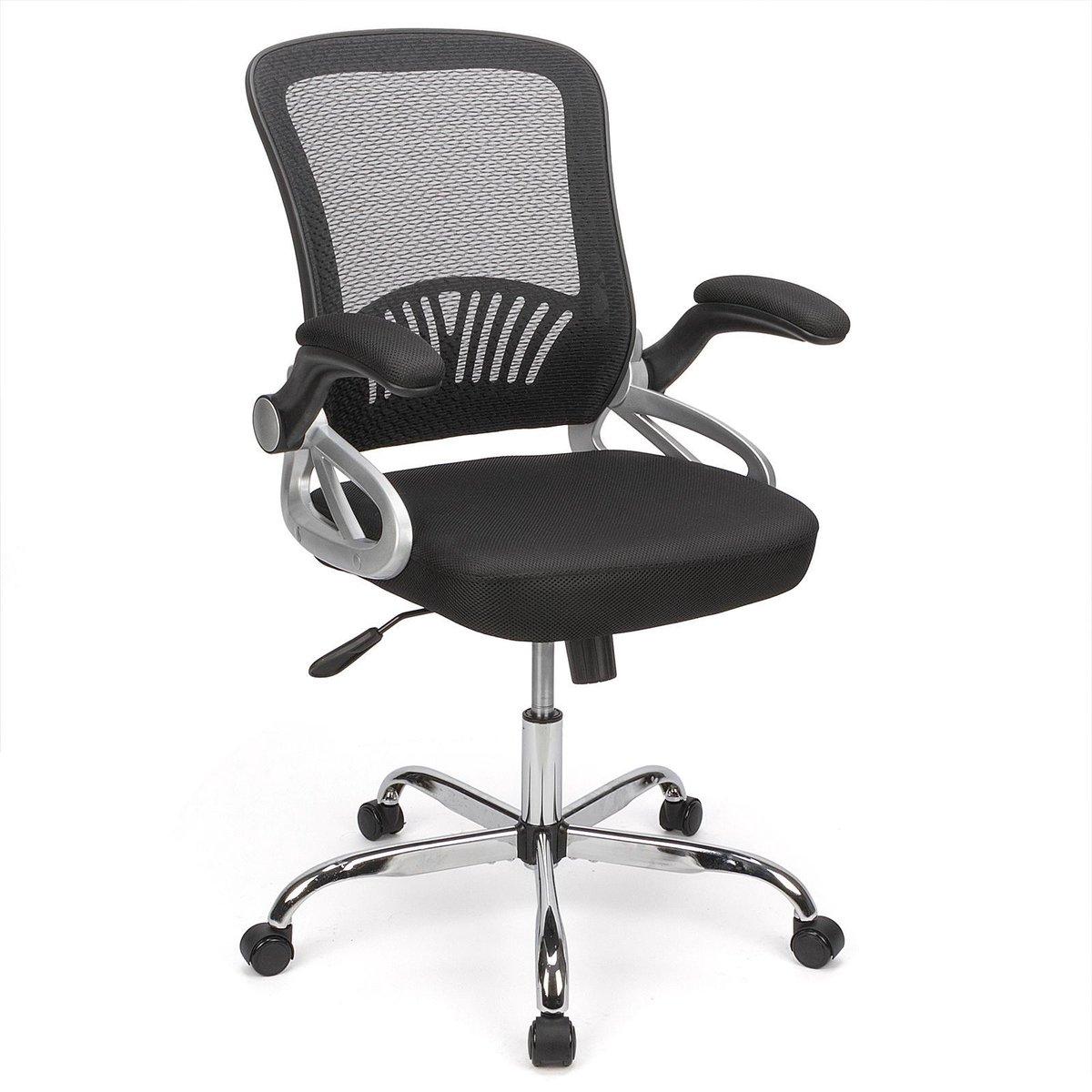 Luxe Ergonomische Bureaustoel - Opklapbare Armleuning - Mesh - Zwart - Comfort Foam