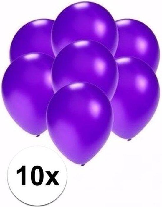 Kleine metallic paarse ballonnen 10x stuks - Feestartikelen/versiering