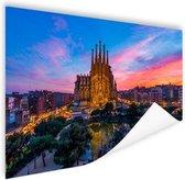 Sagrada Familia in avondlicht Poster 60x40 cm - Foto print op Poster (wanddecoratie woonkamer / slaapkamer) / Steden Poster