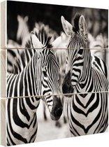 Zebra zwart wit Hout 120x80 cm - Foto print op Hout (Wanddecoratie)