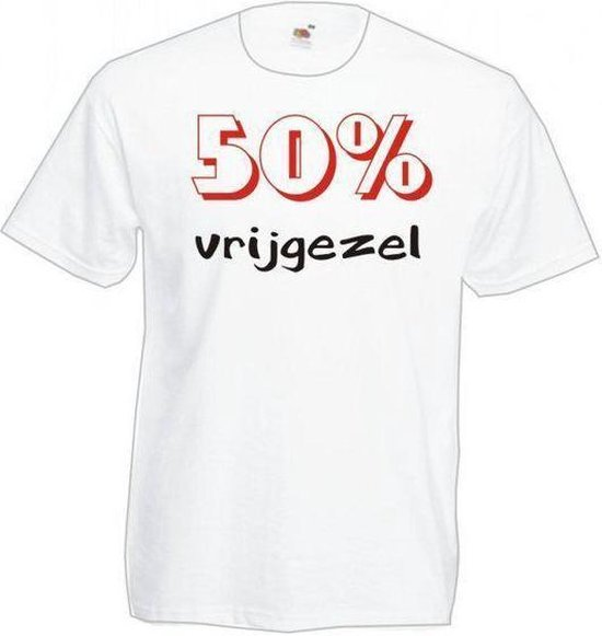 Mijncadeautje Heren T-shirt wit maat L - 50 procent vrijgezel