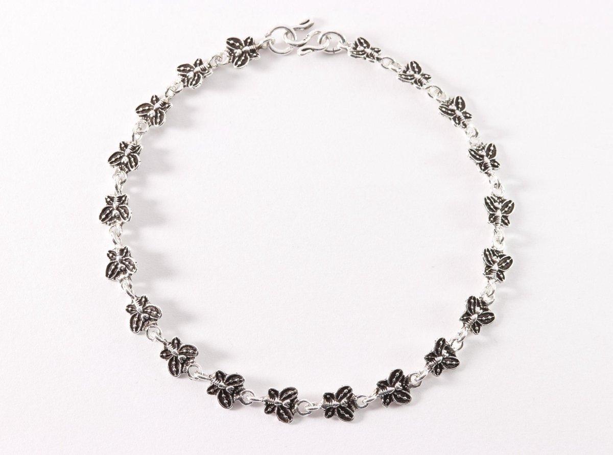 Fijne zilveren enkelband met vlinders - 24 cm. - AsiAsia
