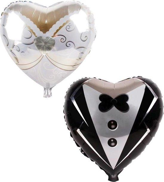 Folie helium ballon Bruiloft hartjes (2 stuks) 45cm