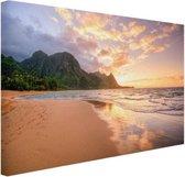 Kauai zonsondergang Canvas 80x60 cm - Foto print op Canvas schilderij (Wanddecoratie woonkamer / slaapkamer) / Zee en Strand
