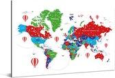 Kleurrijke wereldkaart op een witte achtergrond Aluminium 180x120 cm XXL / Groot formaat!