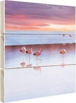 Flamingos bij zonsondergang Hout 120x80 cm - Foto print op Hout (Wanddecoratie)