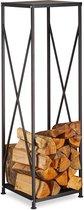relaxdays haardhout opslag - brandhout rek - staal poedercoating - haardhoutrek zwart