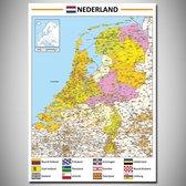 Poster kaart Nederland XL - 100x140cm