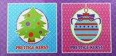 100 stuks: Luxe Kerstkaart Mini en Nieuwjaarskaart met envelop | 8.5x8.5cm | 5 pakjes | Serie E