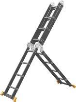 Multifunctionele Vouwladder - 4x4 sporten - Werkhoogte 4.70m - Black