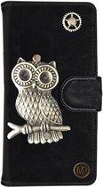 MP Case® PU Leder Mystiek design Zwart Hoesje voor Apple iPhone 7 / 8 Uil Figuur book case wallet case