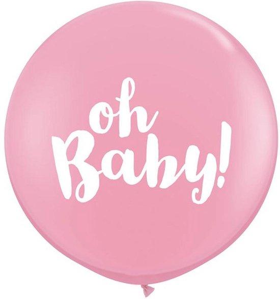 Ballonnen 'Oh Baby' XL - Roze - 2 stuks