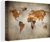 Canvas Schilderij Wereldkaart - Vintage - Abstract - 150x100 cm - Wanddecoratie