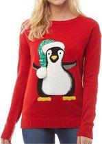 Foute Kersttrui Dames - Christmas Sweater - Pinguin 3d Bal Rood - Kerst Trui Maat M