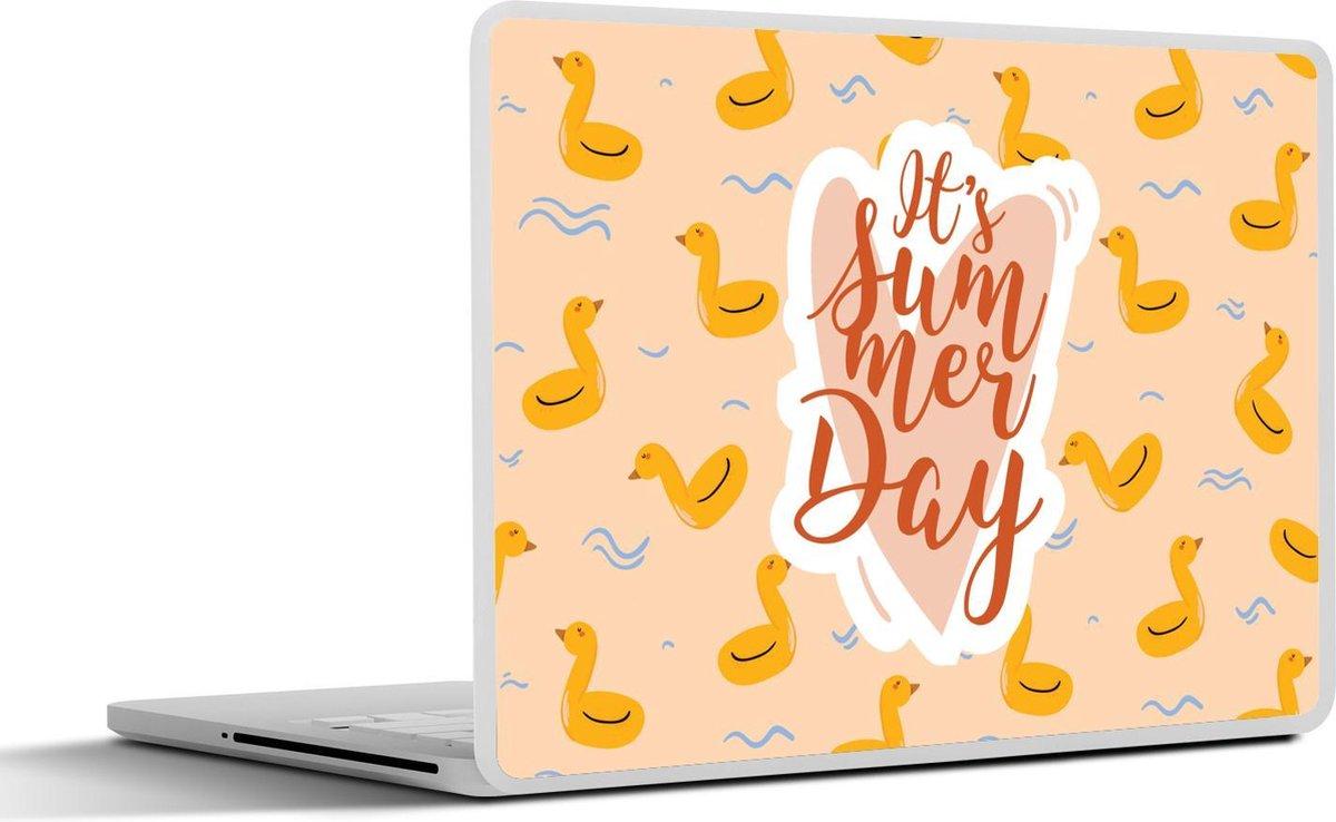 Laptop sticker - 14 inch - Zomer - Zwemband - Geel