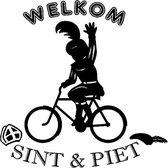 Raam / Muursticker Welkom Sint & Piet op de fiets zwart | Rosami