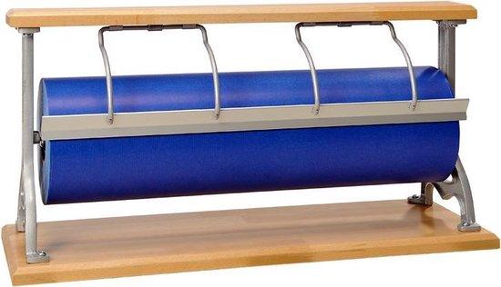 Papierrolhouder Tafelmodel Serie Beukenhout - Toonbankrol breedte 60 cm - m lang - Toonbankrol breedte 60  cm  - Glad mes voor papier - Vernikkelde beugel - MTok-TaB-T60B