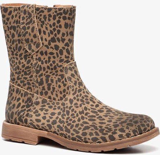 | Groot leren meisjes leopard enkellaarsjes Bruin