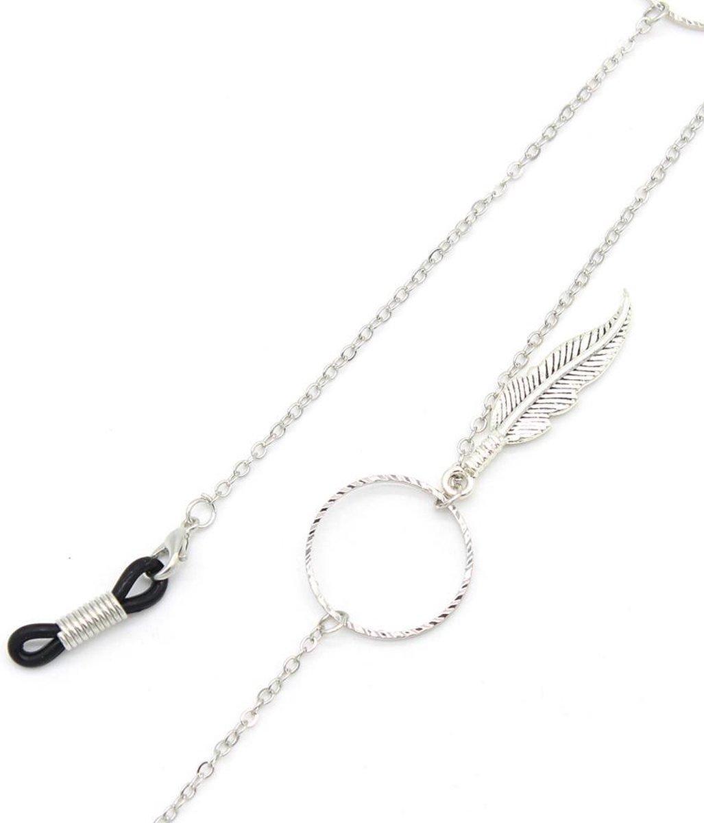 Brillenkoord - Kettinkje voor Zonnebril - Veertjes - Ankerschakel - 78cm - Zilverkleurig - Dielay - Dielay