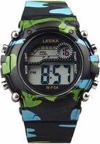 Lasika Horloge - Kinderen - Siliconen - Camouflage/ leger kleur zwart - Ø 38 mm