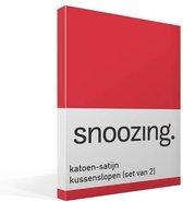 Snoozing - Katoen-satijn - Kussenslopen - Set van 2 - 60x70 cm - Rood