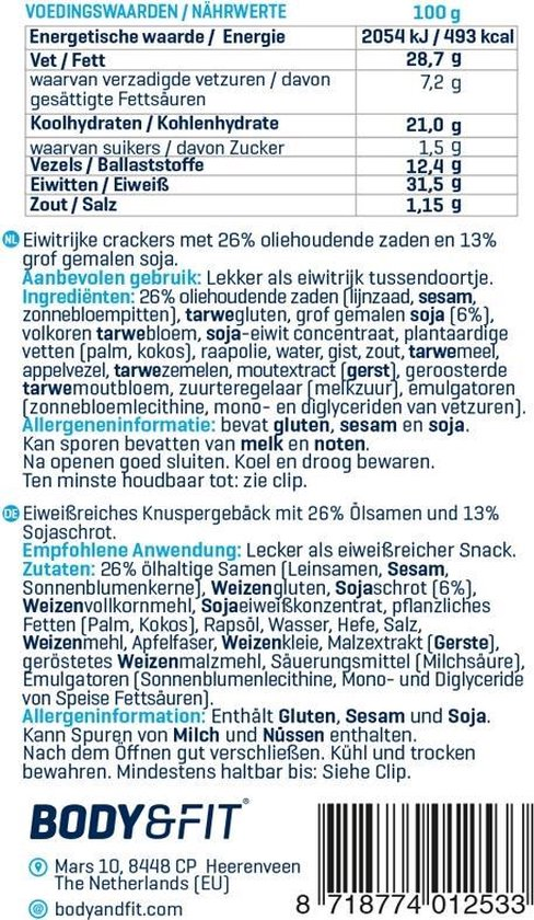 Body & Fit Food Reduced Carb Eiwit Crackers - Hoog in eiwitten, zaden & vezels - Body & Fit Food