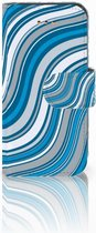 iPhone 5C Bookcase Hoesje Design Waves Blue