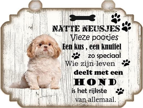 Spreukenbordje Hond: Shih Tzu
