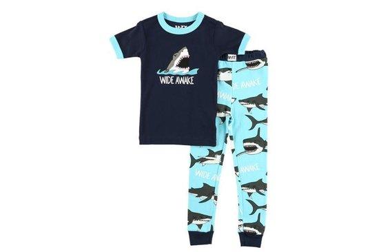 Kinderpyjama LazyOne Wide Awake Shark blauw met bedrukte broek - 104