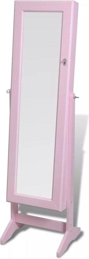 Spiegel met kast Sieraden Sieradenkast met Spiegel Vrijstaand Roze 46 x 37 x 46 cm
