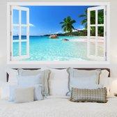 Strand 3D Sticker | Muur | Driedimensionaal | Palmbomen | Muurstickers | Eiland | Zand | Aarde | Zon | Vakantie | Natuur | Zee | Kamer | Raam