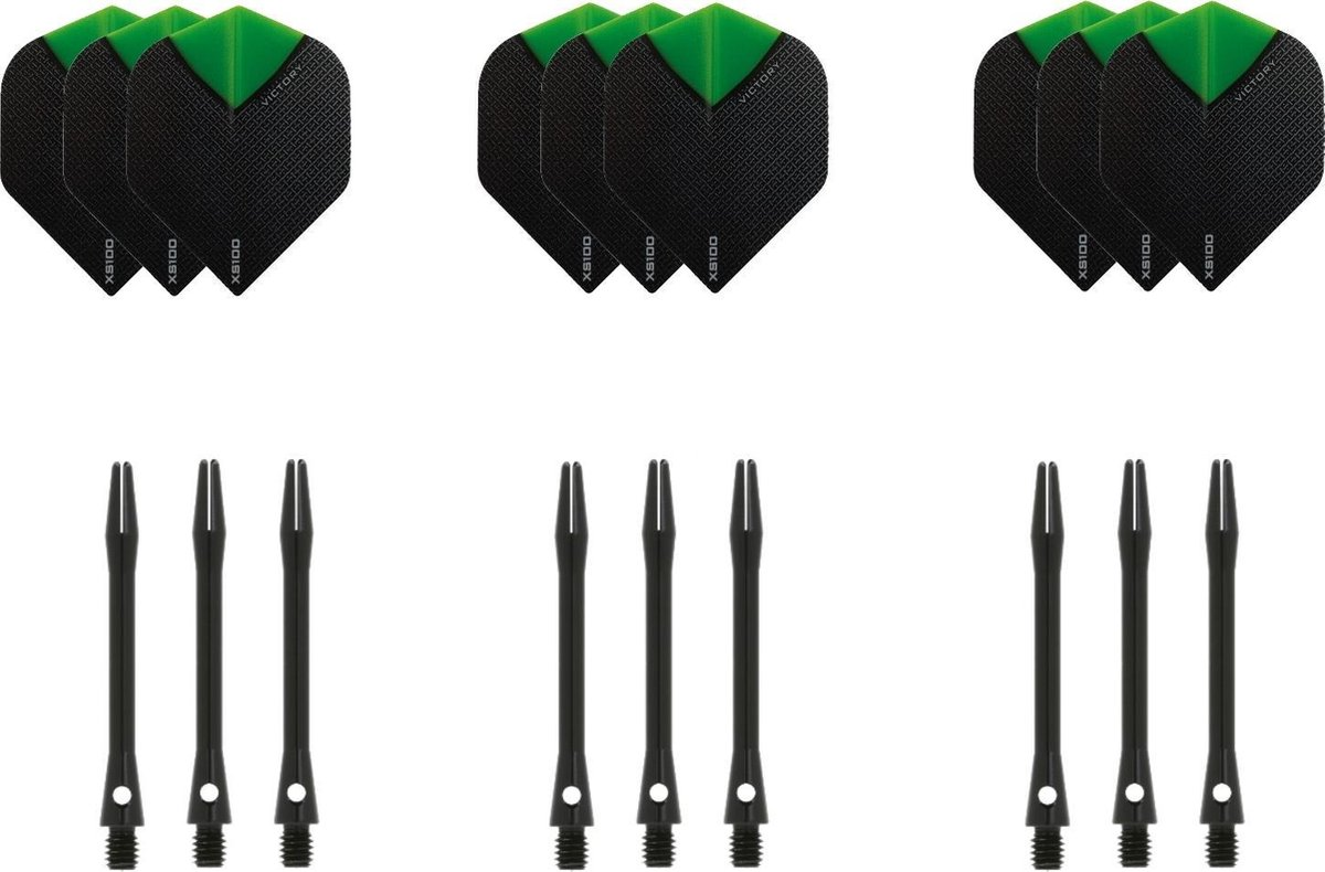 Dragon darts - 3 sets - XS100 Skylight - Oranje - Darts flights - plus 3 sets - aluminium - darts shafts - zwart - medium