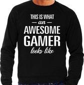 Awesome / geweldige gamer cadeau sweater zwart heren L