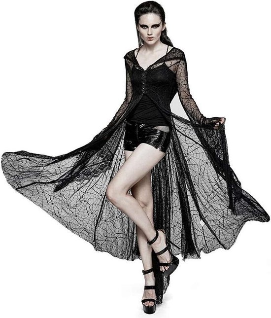 Tarantula top/cardigan met spinnenweb patroon en lange uitlopende mouwen zwart - Gothic, Halloween - M/L - Punk Rave