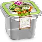 12x Voorraad/vershoudbakjes 0,5 liter transparant/groen plastic/kunststof - Kiev - Luchtdicht/hermetisch afgesloten vershouddoos bakje - Mealprep - Maaltijden bewaren