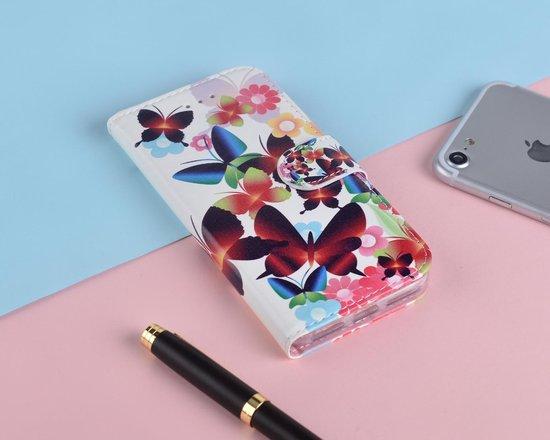P.C.K. Hoesje/Boekhoesje luxe wit met vlinders print geschikt voor Samsung Galaxy A40