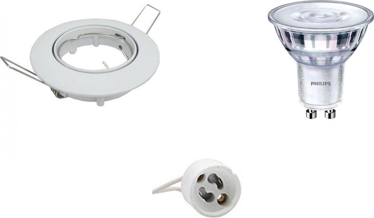 PHILIPS - LED Spot Set - Aigi - SceneSwitch 827 36D - GU10 Fitting - Dimbaar - Inbouw Rond - Glans Wit - 1.5W-5W - Warm Wit 2200K-2700K - Kantelbaar Ø82mm - BES LED