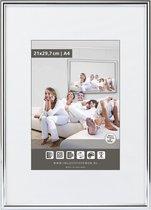 Halfronde Aluminuim Wissellijst - Fotolijst - 40x60 cm - Helder Glas - Hoogglans Zilver - 10 mm